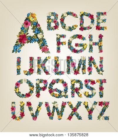 Flower alphabet. Colorful font. Uppercase.