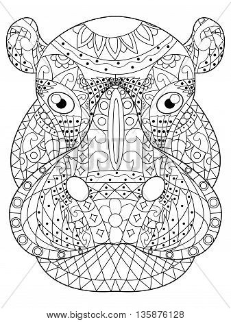 Hippopotamus head coloring book for adults vector illustration. Anti-stress coloring for adult. Zentangle style. Black and white lines. Lace pattern