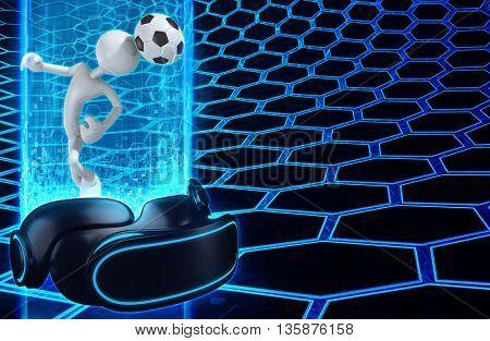 Virtual Reality VR Soccer 3D Illustration