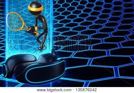 Virtual Reality VR Tennis 3D Illustration