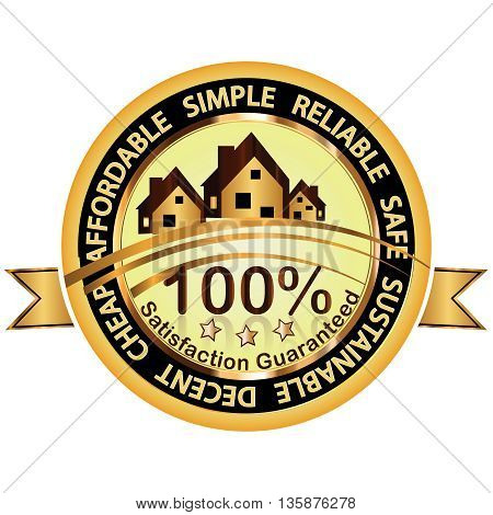 Real Estate business stamp - houses for rent / sale: cheap, affordable, simple, reliable, safe, sustainable, decent. Satisfaction Guaranteed.