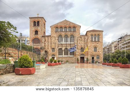 THESSALONIKI GREECE - March 14.2016: Orthodox Church of Saint Demetrios was built on the site of the death of the Holy Great Martyr Demetrios