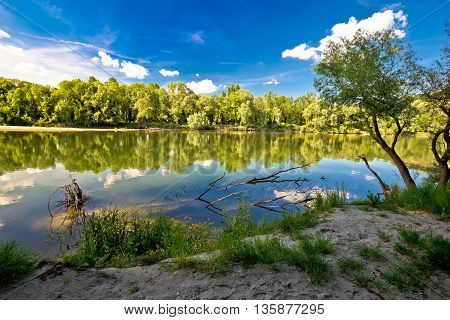 Mura and Drava rivers mouth on border of Croatia and Hungary water landscape of Podravina region