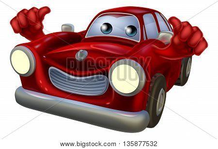 Thumbs Up Cartoon Car Mascot