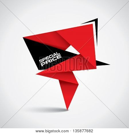 Special price bubble - origami style with vibrant red and black colors
