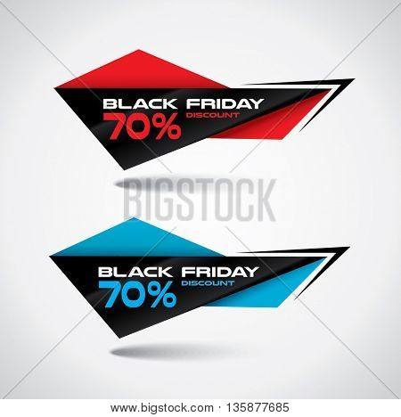 Black Friday bubbles in origami style with high contrast vibrant colors