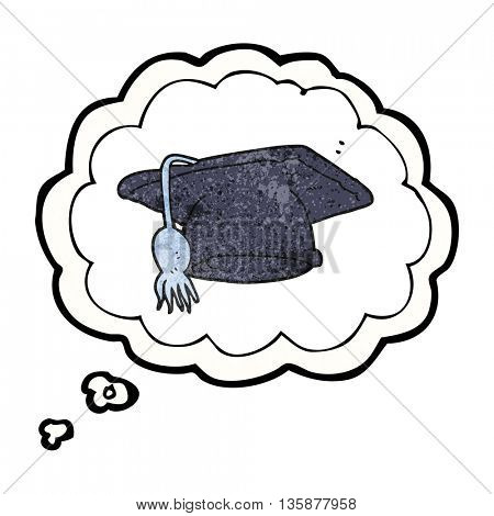 freehand drawn thought bubble textured cartoon graduation cap