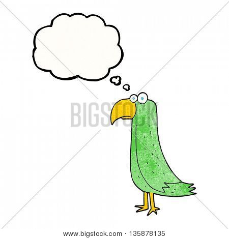 freehand drawn thought bubble textured cartoon parrot