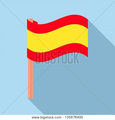 Flag of Spain icon in flat style with long shadow. State symbol