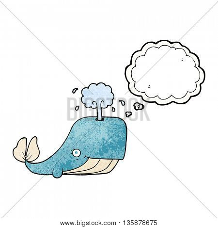 freehand drawn thought bubble textured cartoon whale spouting water