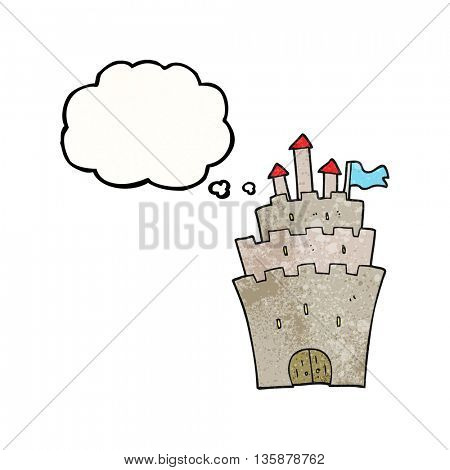 freehand drawn thought bubble textured cartoon castle