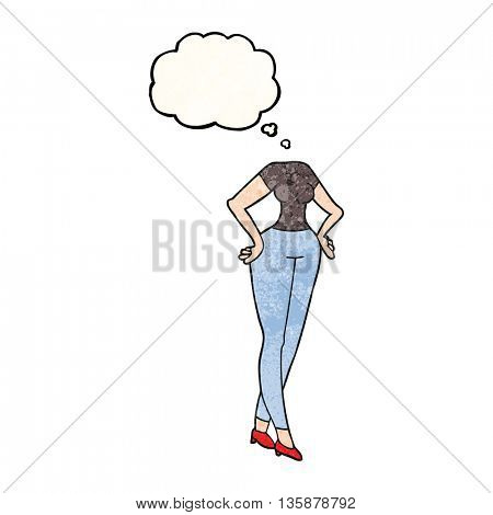 freehand drawn thought bubble textured cartoon headless body (add own photographs)
