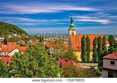 Town of Samobor church and rooftops northern Croatia