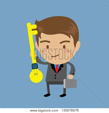 Businessman and long key lamp, Business concept