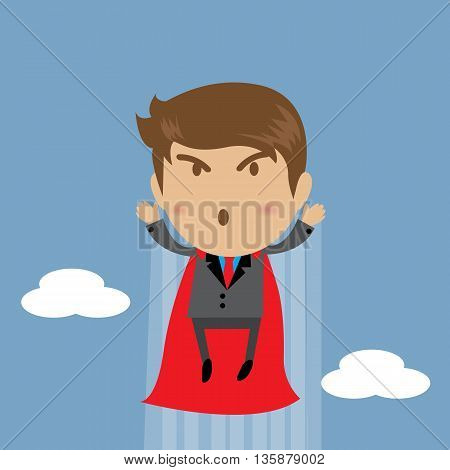 Businessman flying Character as a superhero flying Business concept