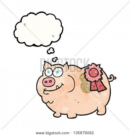 freehand drawn thought bubble textured cartoon prize winning pig