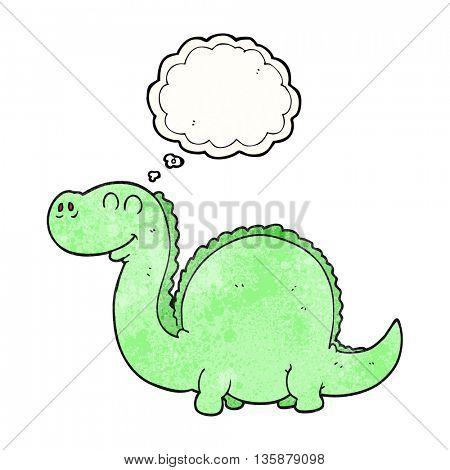 freehand drawn thought bubble textured cartoon dinosaur
