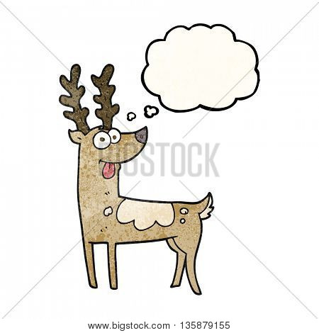freehand drawn thought bubble textured cartoon reindeer
