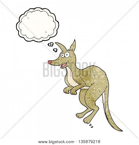 freehand drawn thought bubble textured cartoon kangaroo