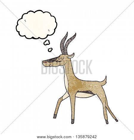 freehand drawn thought bubble textured cartoon gazelle