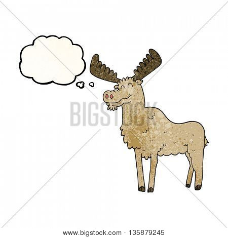 freehand drawn thought bubble textured cartoon moose