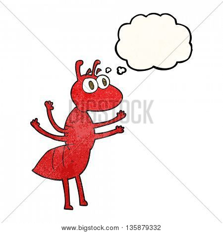 freehand drawn thought bubble textured cartoon ant