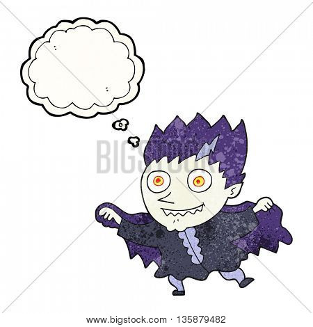 freehand drawn thought bubble textured cartoon vampire