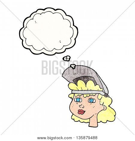 freehand drawn freehand drawn freehand drawn thought bubble textured cartoon woman with welding mask