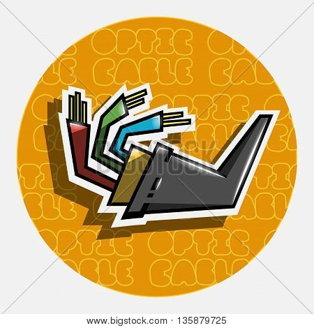 Optic fiber cable on round background. Vector illustration