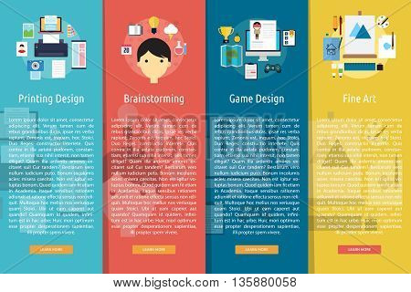 Design and Development Vertical Banner Concept | Set of great vertical banner flat design illustration concepts for design, development, analysis, creative idea, event and much more.
