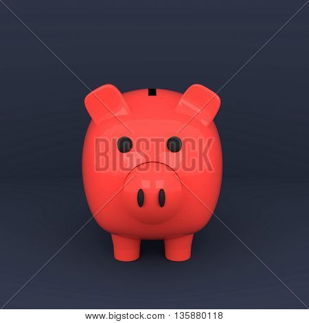 3D rendering of piggy bank on blue background