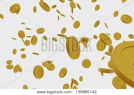 3d rendered failing golden coins isolated on white