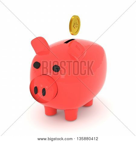 3D rendering of piggy bank and a golden coin on white background