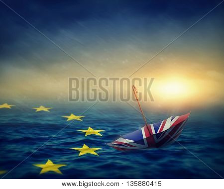 Umbrella with the flag of the United Kingdom and sea with the flag European Union.Brexit concept.