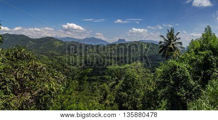 Kandy mountain panorama view in the noon (Sri Lanka)