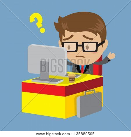 Businessman Working On Computer Office worker Business concept