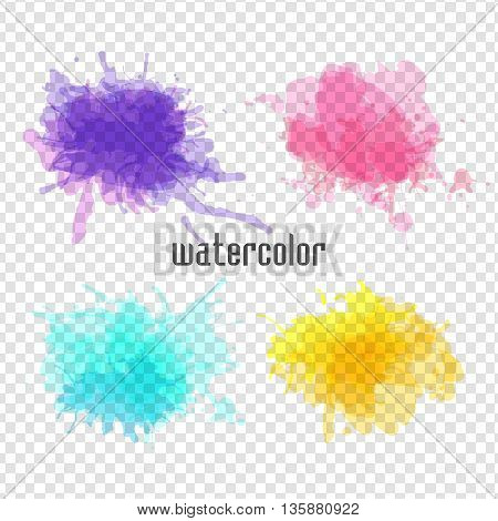 Set of vector watercolor spot. 4 watercolor blot for your design.Blue, pink, yellow, purple