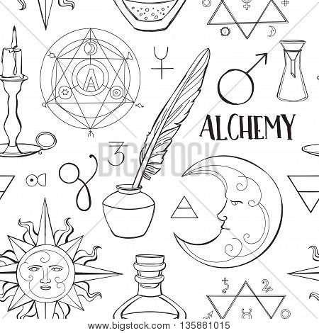 Alchemy symbols pattern. Set of trendy symbols collection. Vector illustration, EPS 10