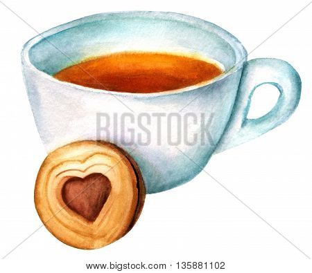 A watercolor drawing of a cup of tea with a cookie with heart-shaped chocolate filling inside hand painted on white background