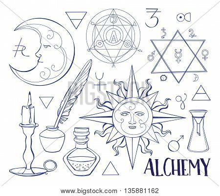 Set of trendy vector Alchemy symbols collection. Vector illustration, EPS 10