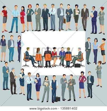 Business plan new employees, business teamwork,  crowds