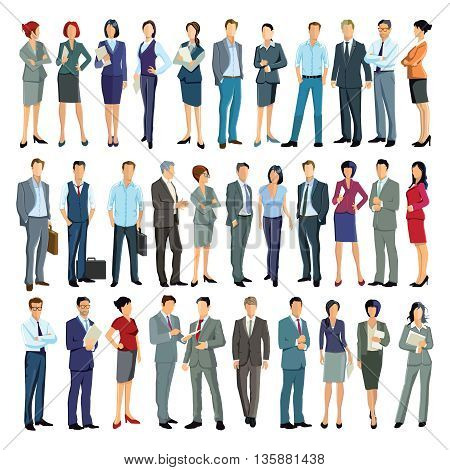 large group of business people, businessman, businesswoman