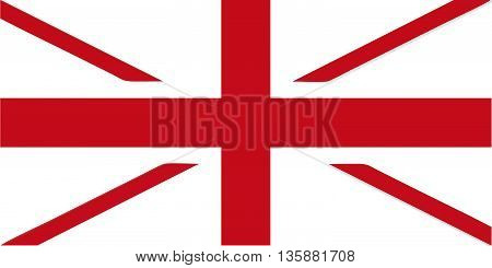 Flag of the UK without blue (colour of the European Union) - isolated vector illustration