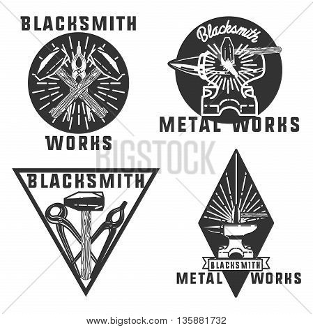Set of vector blacksmith related logos. Blacksmith, metal works badge, logo, design elements, emblems, signs, symbols, labels Vintage style