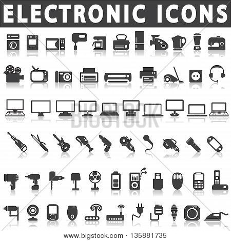 Electronic Devices and Home Appliances Icons on a white background with a shadow