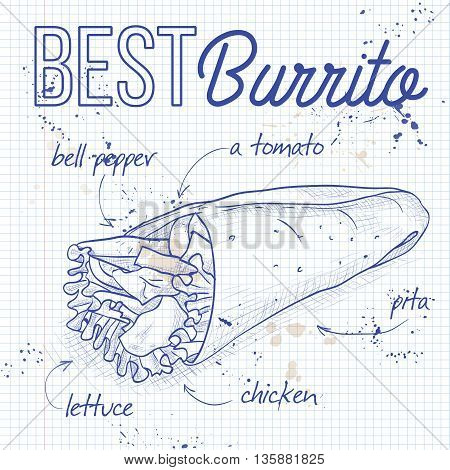 Mexican traditional food background with burrito. Burrito recipe on a notebook page