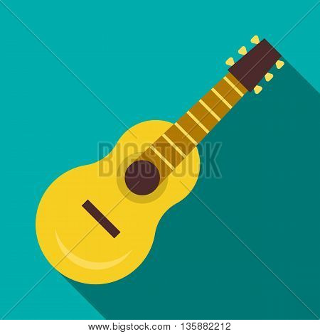 Guitar icon in flat style with long shadow. Musical instrument symbol