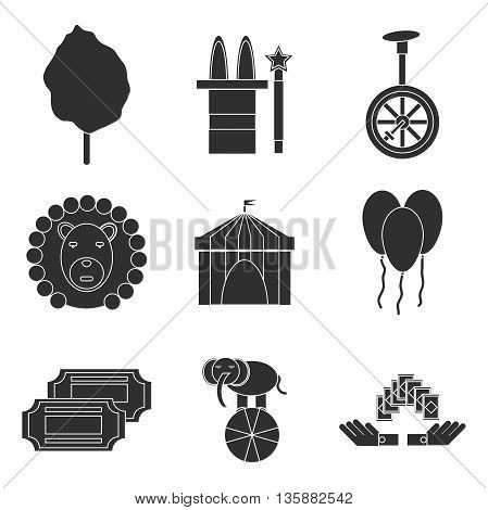 Circus icons flat set isolated icons with long shadows on circles. Vector illustration, EPS 10
