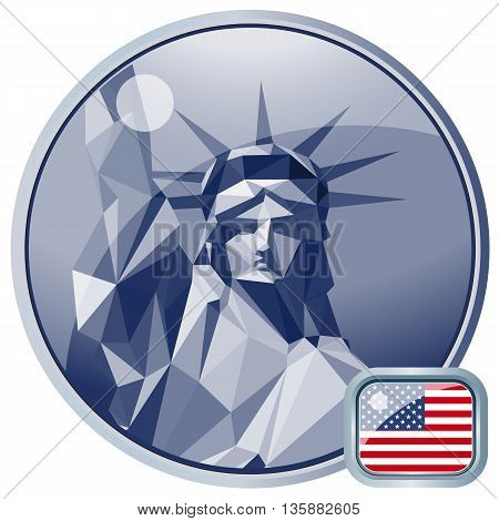 Fourth of july independence day card with statue of liberty. Digital vector image