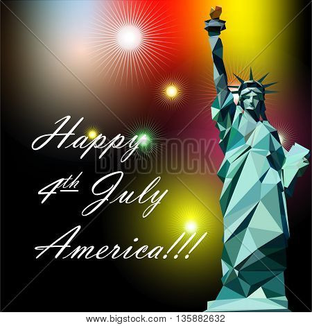 Fourth of july independence day card with statue of liberty and fireworks. Digital vector image